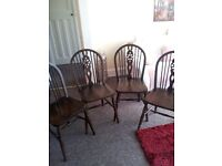 DARK WOODEN DINING CHAIRS X 4 GRT COND