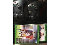 Boxed Xbox one with 2 controllers and games