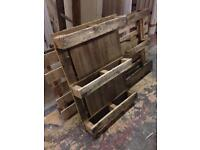 Large wooden pallets and pieces of wood