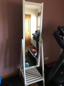 Large free standing white mirror, great full length mirror with tilt function
