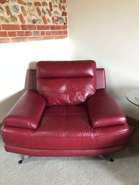 Contemporary Red leather sofa and two armchairs. as new | in Norwich,  Norfolk | Gumtree
