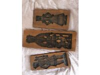 Vintage and old wood picture sculpture