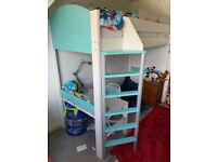 Stompa White and Teal High Sleeper single bed and table