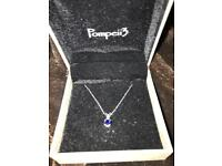 Small sapphire and diamond silver necklace