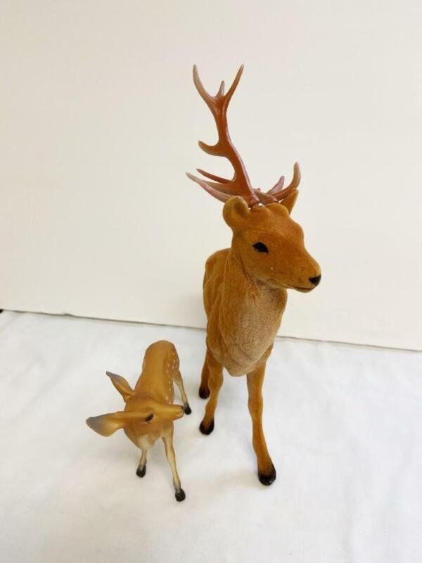 2 Vintage Christmas Deer Large Flocked w Antlers Small Plastic w Spots Unmarked