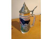 Original German Porcelain Beer Stein with Pewter Lid