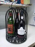 WROUGHT IRON WINE AND SPIRITS CADDY, OR DISPLAY