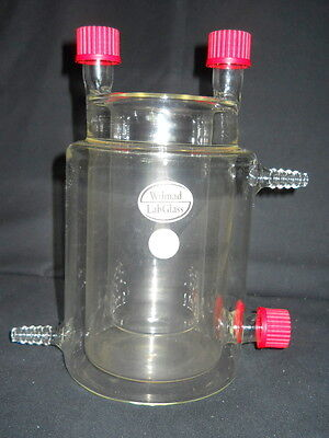 Wilmad Lab Glass 600ml 2-neck Reaction Double Jacketed Beaker Gl25 Thread Caps
