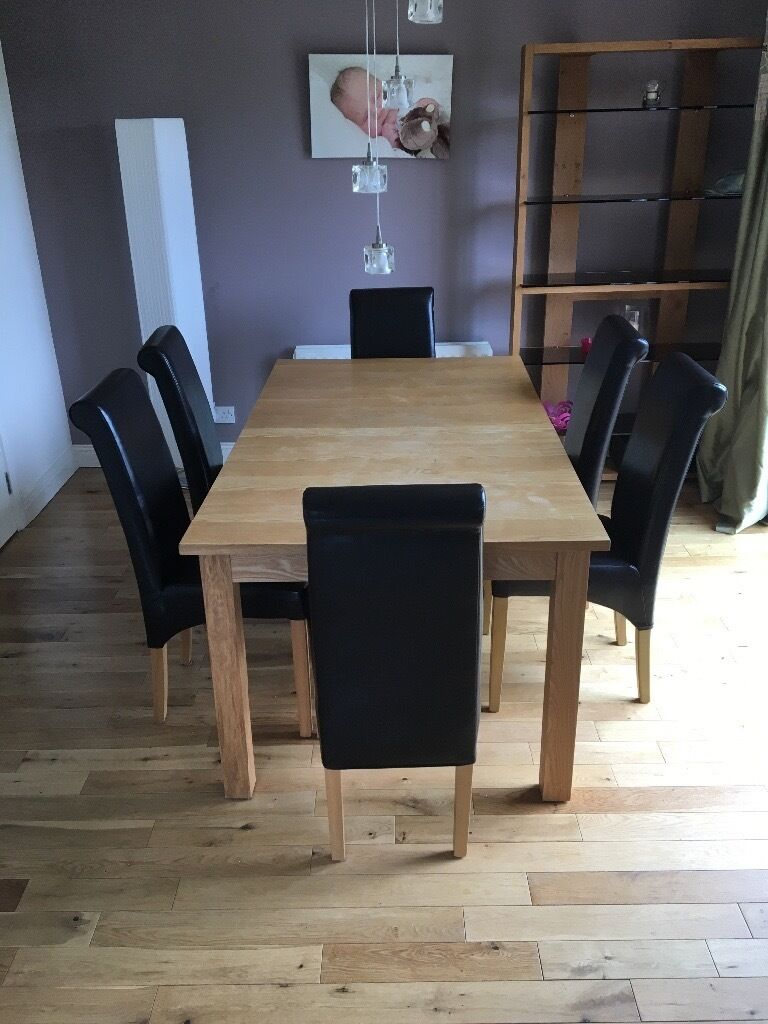 Wooden dining table and leather chairs belfast area