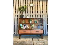 Jentique vintage retro dark wood sideboard display cabinet bookcase mid century