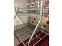 Metal Silver Double Bunk Bed used
