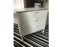 3 drawer white chest of drawers