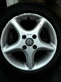"VW 14"" alloy wheels with new tyres"