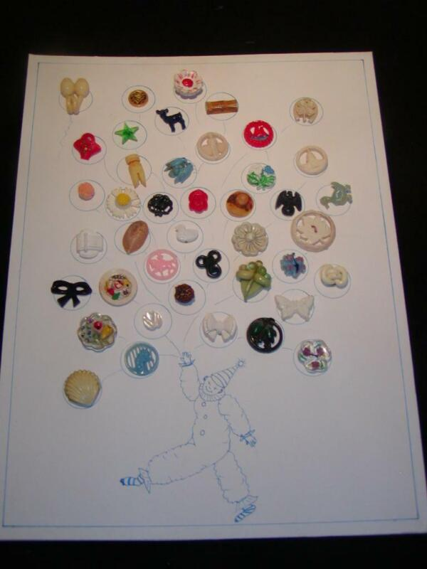 """Antique BUTTONS - """"Relishes & Goofies"""" Great Varieties, Mounted as Clown Balloon"""