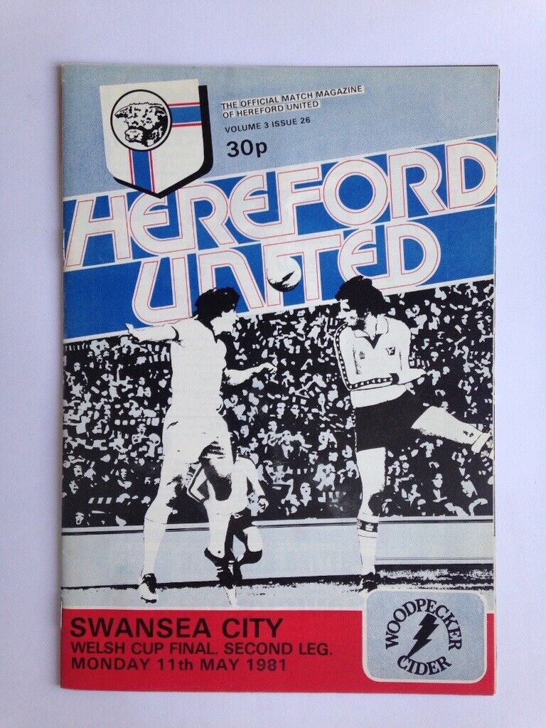 24805636fb7 Hereford United v Swansea City match Football Programme, Welsh Cup Final  Second Leg 1981. Malvern ...