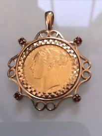 FULL GOLD SOVEREIGN PENDANT VICTORIA 1874 ST GEORGE REVERSE.