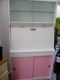 Dresser/Cabinet Kitchen Vintage Retro 50s Pink & White Made by Hygena
