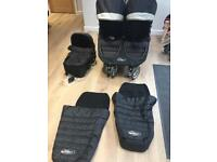 City mini double Pram with carry cot.