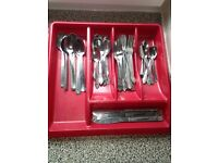 Set of stainless steel cutlery + large organizing tray