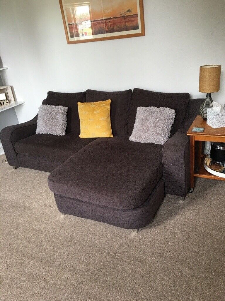 Dark Grey/brown DFS L Shape Sofa For Sale