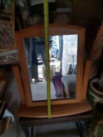 Light Wood Adjustable Mirror