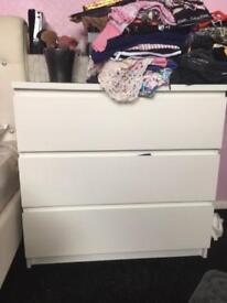 Ikea malm 3-drawer white