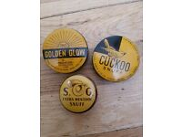 3 X OLD ADVERTISING TINS FOR SNUFF.