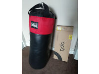 Lonsdale punching bag and new, unused wall bracket! LISTING ENDS MONDAY 20TH !!!!