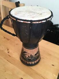 Hand Carved African Style Bongo Drum