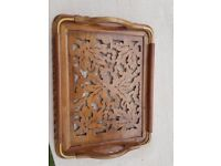 Ornate wooden tray.