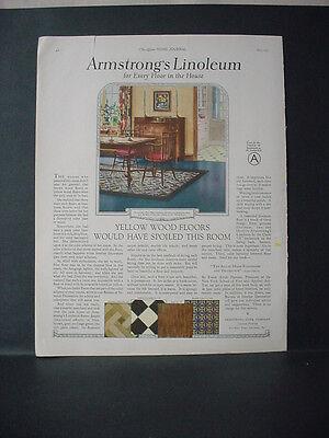 1924 Armstrongs Linoleum Flooring Full Page Color Vintage Print Ad 11777
