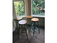 Upcycled wooden kitchen stools x4