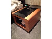 2x Table / bedside table / TV stand / good quality wood + glass table - great steam