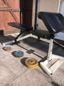 Professional YORK weights bench, curl pad and some iron weights, weight lifting