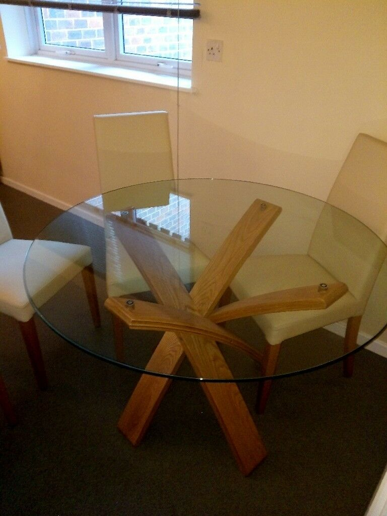 Jasper Conran Dining Room Table And 4 Cream Wood Chairs