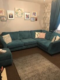 Teal DFS Left Hand Corner with Storage Foot Stool