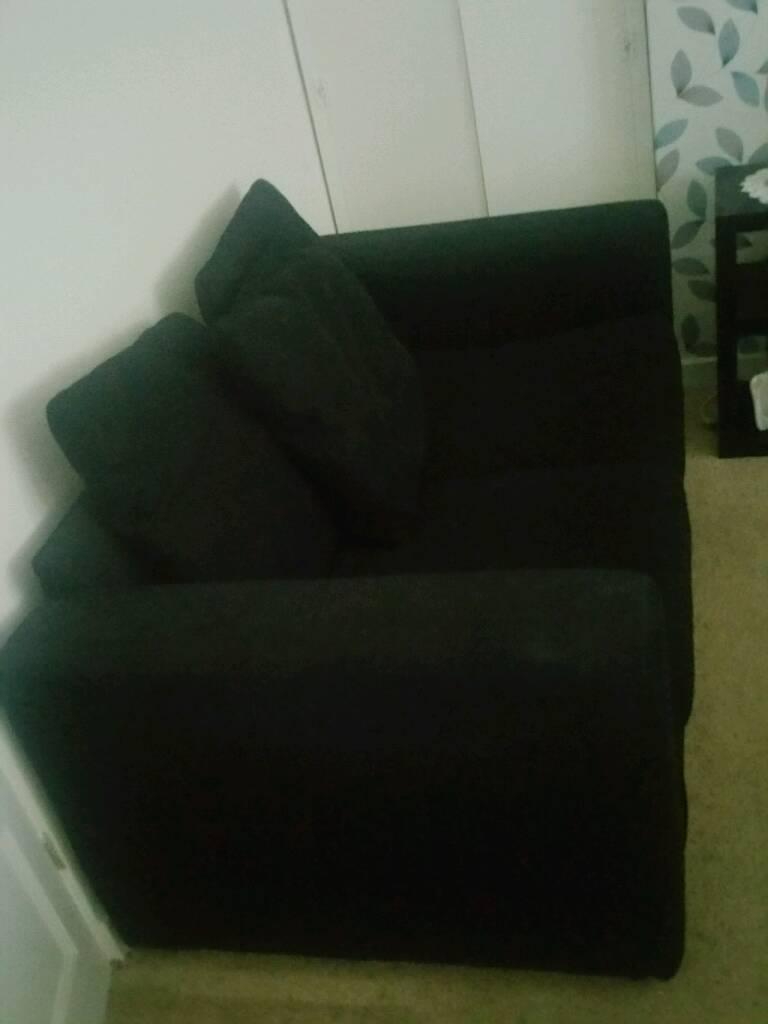 2 seats black velvet sofa