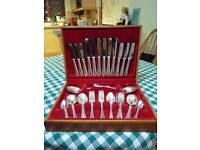 Vintage Boxed Complete Bead Design Cutlery Set