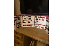 Hairdressing training heads, colour charts x2, denman brushes and scissors