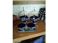 Blue glass sugar bowls and cream set