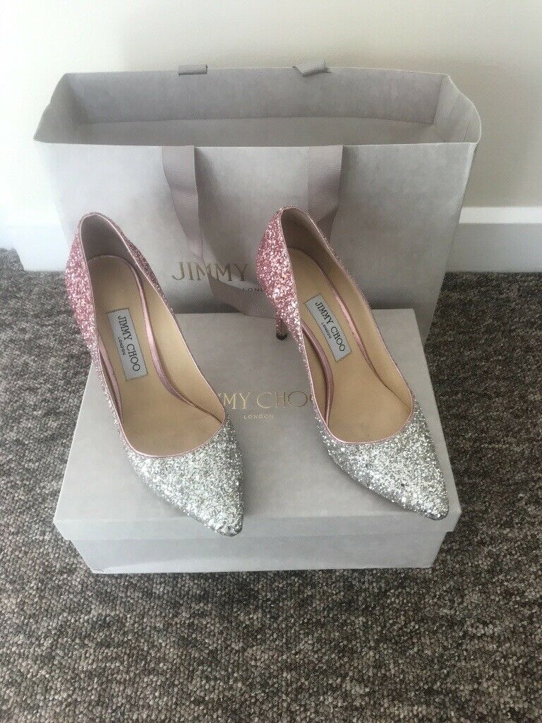 53199cd70d0 Worn once, beautiful Jimmy Choo Shoes and Matching Clutch Bag in Sparkly  Pink Flamingo - Size 5 1/2.