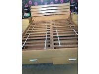 Wooden King Size bed frame with drawers