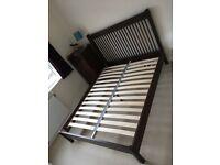 Solid dark oak king size bed