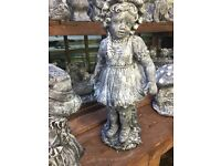 Large Victorian girl garden stone ornament 57cms high