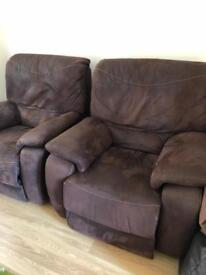 2 x large DFS reclining armchairs