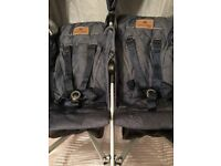 Maclaren Denim-Indigo Twin Trumph Double Buggy - Excellent Condition - Barely used