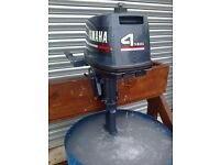 Yamaha 4 hp outboard, easy starter, fully serviced and totally reliable.
