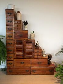 Asian Stair Chest - With Cupboard and Drawers - Ideal Medicine Cupboard