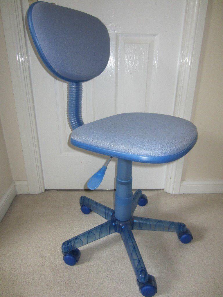Blue swivel desk chair
