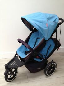Phil & Teds Double Pushchair with double seats, newborn cocoon, 2 x rain covers & buggy board